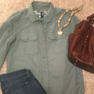Madewell Olive Green Soft Cotton Twill Shirt XS